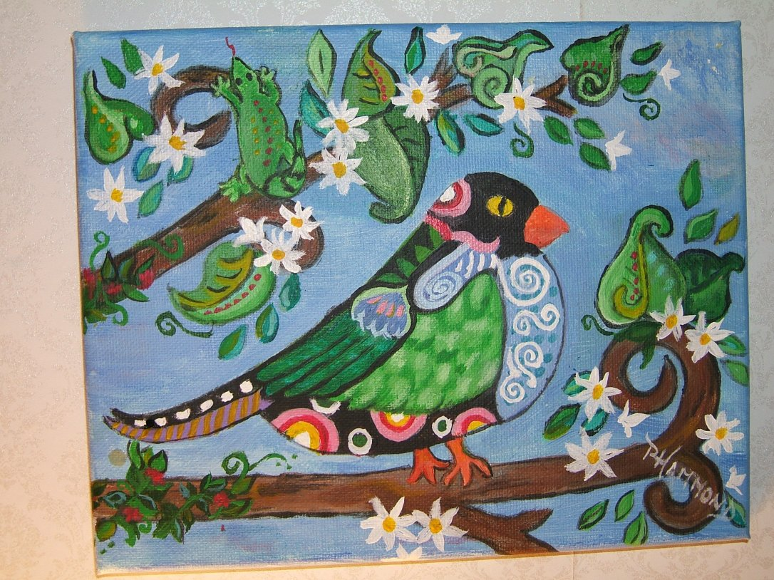 original art painting beautiful bird