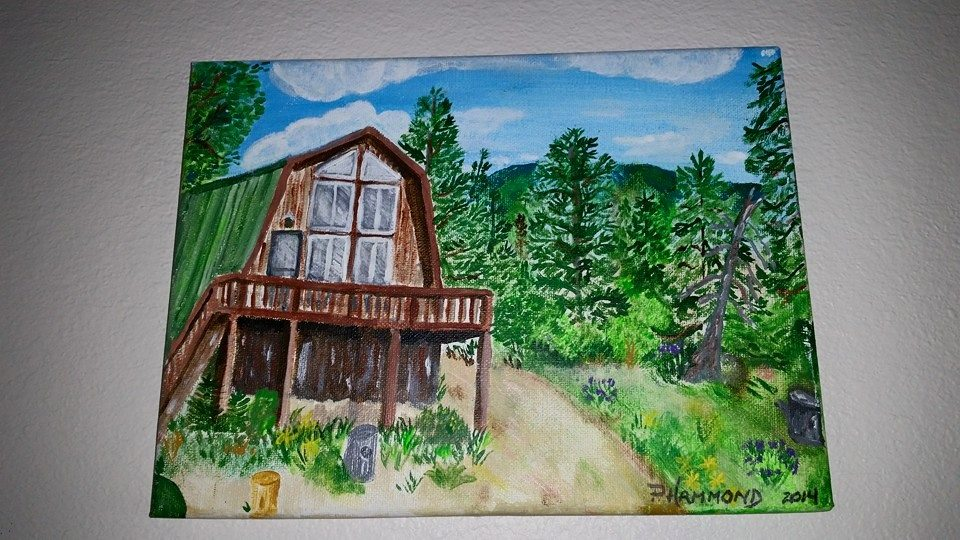 original art painting Utah Cabin