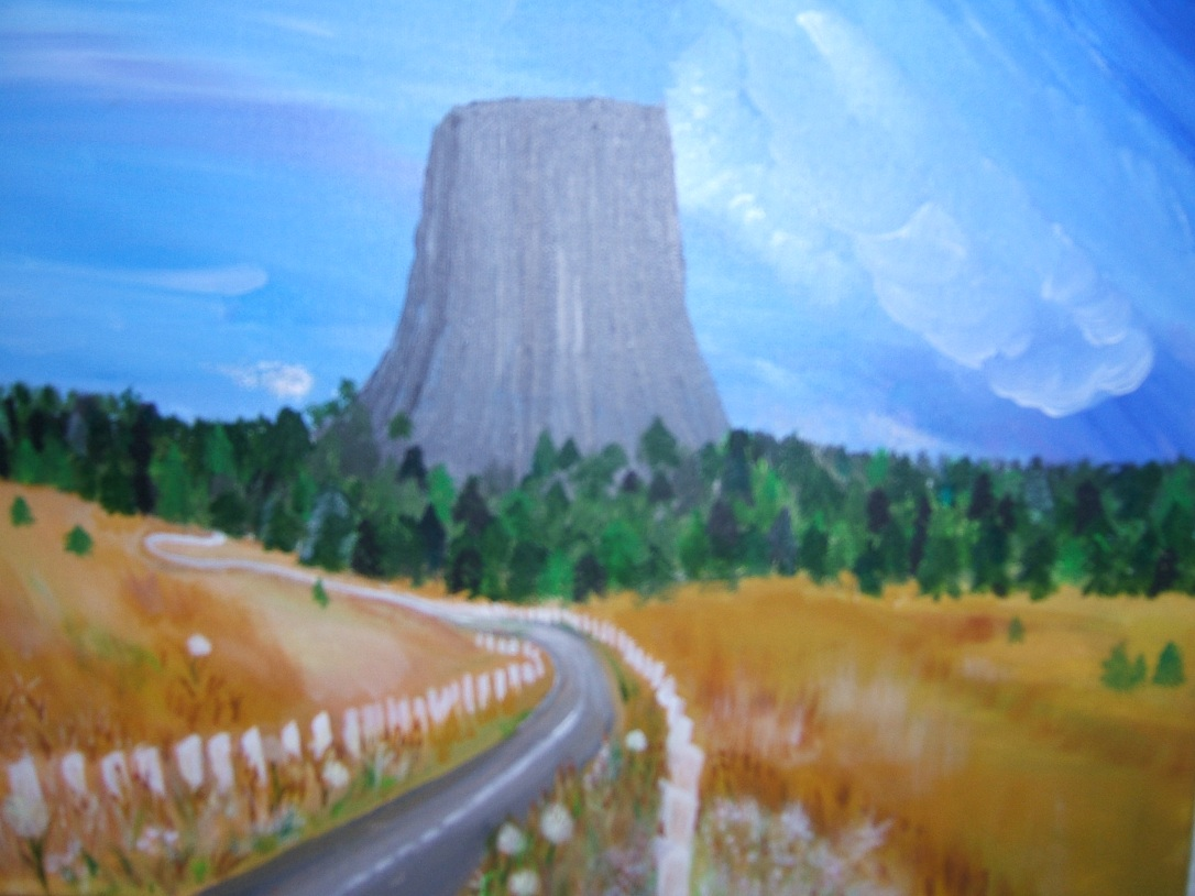 original art painting devils tower