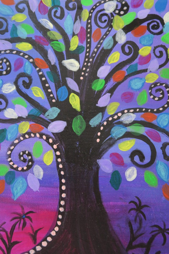 original painting midnight fantasy tree