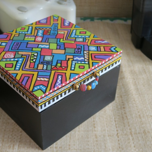 """This handpainted box is the perfect size for all those beverage """"extras."""""""