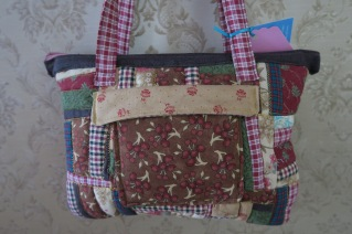 Zippered Boho Purse Quilted Handbag in Brown, Reds, Beiges, Homespun Patchwork 30.99