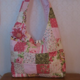 Rose Pink Purse Quilted Patchwork Hobo Bag Featuring Rose Prints Small Size FREE US SHIPPING.