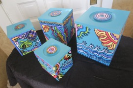 Canister Storage Boxes Hand Painted Set of Four on Teal for Kitchen Bath Bedroom Organizers $34.99