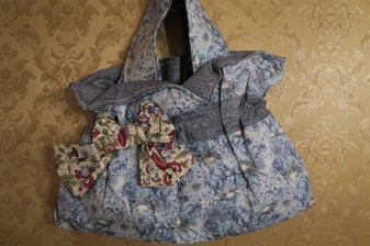 Tote Bag in Blue & Silver Florals Large Size Great Gift for Mom FREE US SHIPPING $34.99