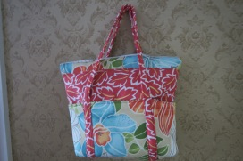 Tote Bag Medium Tropical Print Tote with zipper closure and pockets FREE US SHIPPING $34.99