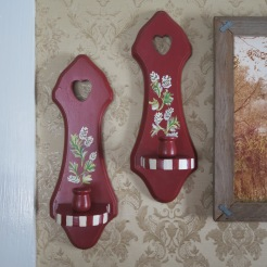Candle Sconces (2) Red and Hand Painted with Woodland Motif $23.50
