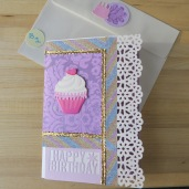 Birthday Greeting Card Large Purple with scalloped edge
